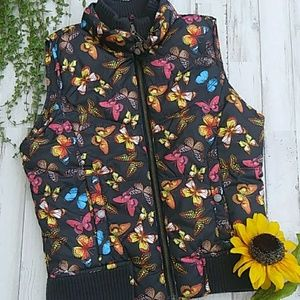 Old Navy Brown Butterfly Puffy Vest. Size L